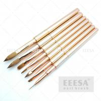 China Rose Gold Pure Kolinsky Acrylic Brush Customized Liner Stripping  With Cap wholesale