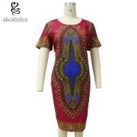 China Summer Dashiki African Print Dresses Short Sleeve Round Neck Knee Length wholesale