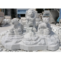 China Lion Family Sculpture Marble Lions Statues White Stone Large Animals Garden Decoration wholesale