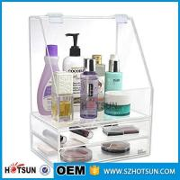 China Diamond Handle Clear Acrylic Makeup Organizer, Acrylic Makeup Drawer Box, Flip Cover Acrylic Cosmetic Storage Boxes wholesale