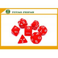 China Poker Accessories White / Solid 4 6 8 10 12 Polyhedral Dice Set , Custom 20 Sided Dice wholesale
