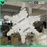 China 1.5m 210T Polyester Cloth White Inflatable Snowflake For Christmas Decoration wholesale
