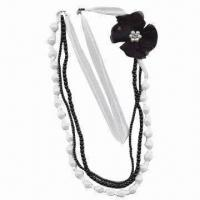 China Elegant Necklace, Made of Mesh Ribbon and Plastic Beads, Decorated with Mesh Flower wholesale