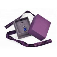 China Purple Velvet Cardboard Jewelry Box With Necklace Hanger Window Paper Lid Luxury wholesale