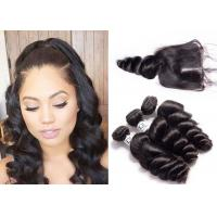 China Comfortable 9A Loose Wave Hair Weave Bundles With Closure Non Bade Smell wholesale