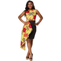 China Dashiki African Print Dress Midi Length 100% Cotton Kitenge Design Ankara Style wholesale