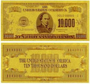 China 24k Gold American $10000 Dollars Banknote wholesale