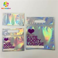 China Zipper Plastic Mylar Foil Cosmetic Packaging Bag Hologram Laser Holographic Stand Up Type wholesale