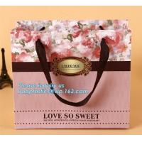 China Manufacturer hot sale cheap custom paper bag luxury kraft paper bag,pure color special paper flower bag with ribbons han on sale