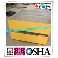 China Steel Drum Spill Containment Pallets , Spill Containment Platform Yellow wholesale
