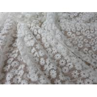 China Daisy Small Flower Nylon Mesh Fabric By The Yard , Off White Lace Fabric For Dresses wholesale