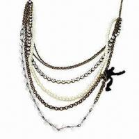 China Alloy/Acrylic Necklace, Multi-chain and Fashionable Design on sale