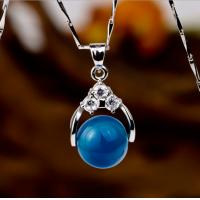 China 925 sterling silver jewelry 18k white gold plated blue agate women necklace pendant wholesale