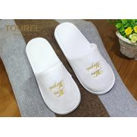 China One Size Fits Most Coral Fleece Disposable Hotel Slippers with Various Logo Choices wholesale