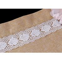 China White Double Waves Edge Chemical Guipure Lace Trim With Scalloped Lace Borders wholesale