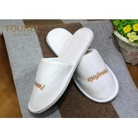 Quality Luxehome White Velvet Spa Slippers with Close Toe and Extra Thickening EVA Soles for sale