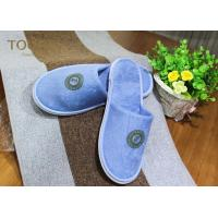 China Blue Terry Bedroom Slippers with Normal Printing Customized Logo wholesale