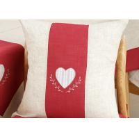 China Custom Embroidered Decorative Throw Pillow Covers 100% Linen Heart Pattern wholesale
