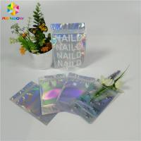 China Stand Up Customized Makeup Organizer Bag One Side Clear Holographic Laser Packaging wholesale