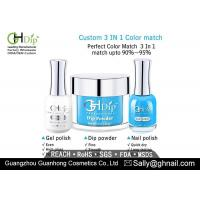 China Blue Color Nail Dip Powder 3 in 1 set, Perfect Match Gel Polish and Nail Lacquer on sale