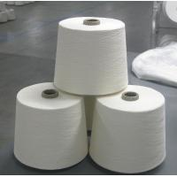 China Knotless Dope Polyester Raw White Yarn , Bleach White Staple Spun Polyester wholesale
