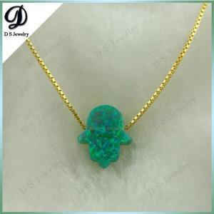 China 10*12 gold hamsa necklace opal jewerly wholesale