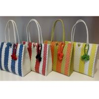China Summer Woven Beach Bag Colorful PP Shopping Bag Strap Straw Tote Bag wholesale
