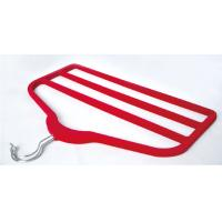 China Professional Durable Velvet Men Trouser Hangers Red For Home / Laundry wholesale