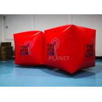 China Red PVC Tarpaulin 1.5M Inflatable Water Floating Buoy  Cube / Square Shape With Logo wholesale