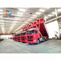 China Used to Transport construction materials ,Sands Dump Truck Trailer Genron Brand With Mechanical suspension on sale