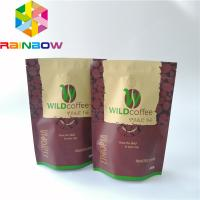 China Rainbow Custom Plastic Stand Up Pouch Resealable Coffee Bag Top Up Ziplock With Valve wholesale