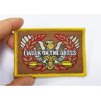 China Merrow Border Embroidered Uniform Patches On Shoulder Hook And Loop Backing on sale