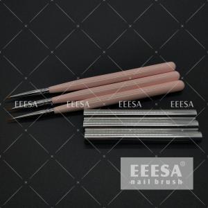 China Acetone Resist UV Coating Baby Pink Color Wooden Handle Nail Art Brush Gel Brush #17 6mm Hair wholesale