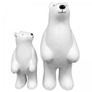 China White Cartoon Resin Art Sculpture Landing Polar Bear Animal Outdoor Sculptures wholesale