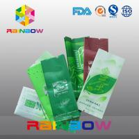 China Side Gusset Tea Bags Packaging Back Center Sealing Green Aluminum Foil Heat Sealable wholesale