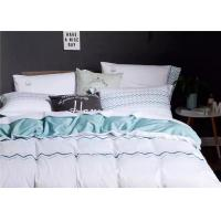 China Soft Embroidered Light Blue And White Duvet Cover 4 Pcs For Home / Hotel wholesale
