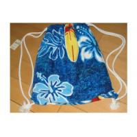 China Portable Beach Towel Drawstring Bag Reactive Printing With Smooth / Dot Embossing wholesale