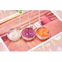 China Women fashion jewelry beautiful high quality pressed real flower necklace wholesale