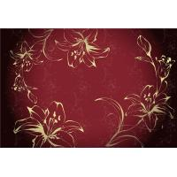 China Eco Friendly Bamboo Fiber Modern Decorative Wall Panels Red Flowers Pattern wholesale