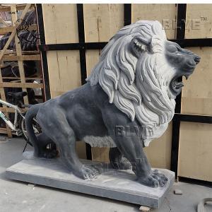 China Black Marble Lion Sculpture Large Stone Modern Garden Decoration wholesale