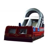 China Closed inflatable bus standard slide hot fire truck inflatable dry slide fire fighting truck inflatable slide on sale