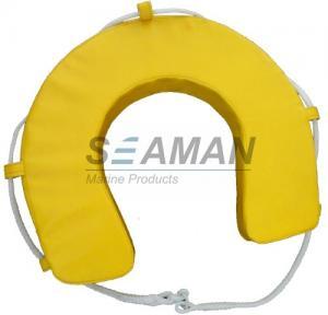 China Yellow / White PVC Horseshoe Lifebuoy Leisure Boat Yacht Lifesaving Ring wholesale