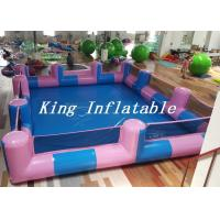 China Custom 0.9mm PVC Pool Type Inflatable Swimming Pool With Blue And Pink , 12x8m wholesale