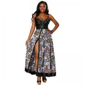 China Two Piece Design Long African Print Dresses Split Button Placket Front Skirt wholesale