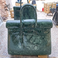 China Marble Famous Brand Bag Sculpture Frog Green Natural Stone Handbag Statue Luxury Shopping Mall Decoration wholesale
