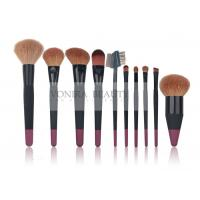 China 10 pcs Custom Professional Makeup Brush Set With Nature Hair And Duel Colors Wood Handle wholesale