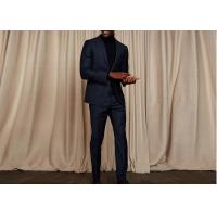 China Tailored Blue Pinstripe 3 Piece Suit Woven Jacquard Fabric Fit Spring / Autumn wholesale