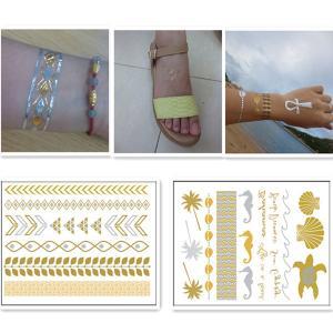 China Long Lasting Waterproof Gold Foil Metallic Body Jewelry Tattoo Stickers wholesale