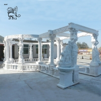 China Large Marble Gazebo White Garden Solid Stone Pavilion Hand Carved Statues wholesale