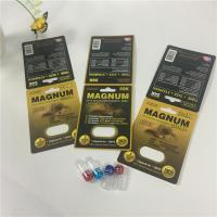 China Mangum Gold Capsule Pill Blister Card Packaging Silk Printing With Insert / Bottle wholesale